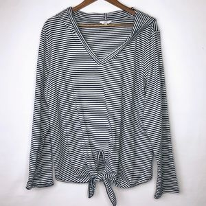 CROWN & IVY Striped Blouse with Hood in Size XL
